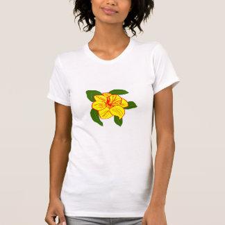 ラッパスイセンの花のウミガメのワイシャツ Tシャツ
