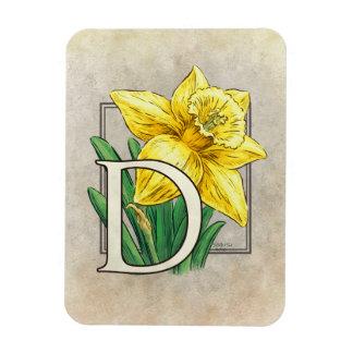 ラッパスイセンの花のモノグラムのためのD マグネット