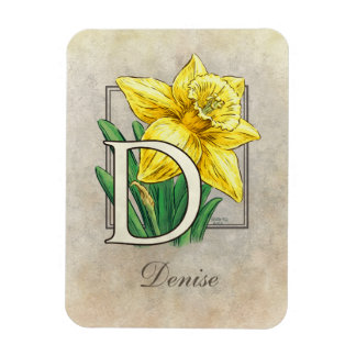 ラッパスイセンの花柄のモノグラムのためのD マグネット