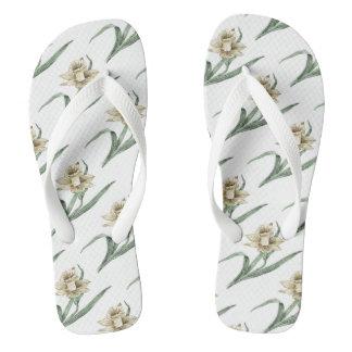 ラッパスイセンの花柄パターン ビーチサンダル