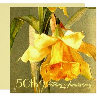 ラッパスイセンの金結婚式招待状 カード