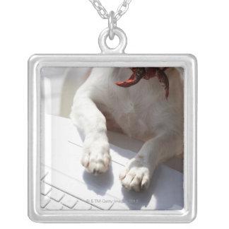 ラップトップに彼の手を置いている犬 シルバープレートネックレス