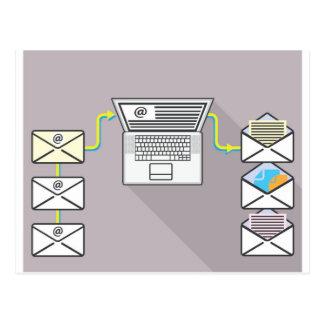 ラップトップの電子メールを通って行くこと ポストカード