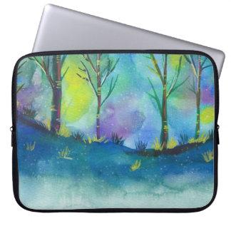 ラップトップスリーブ-水色の芸術の森林 ラップトップスリーブ