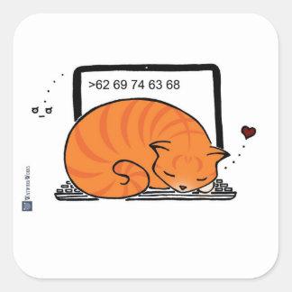 ラップトップ猫のベッド(オレンジ虎猫) スクエアシール