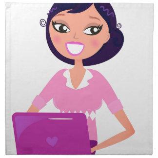 ラップトップ/秘書の女の子を持つ女の子 ナプキンクロス
