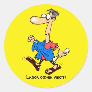 ラテン: vincit労働のomnia! ラウンドシール