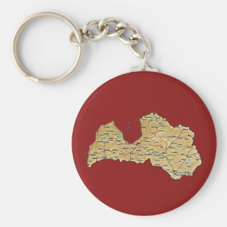 ラトビアの地図Keychain キーホルダー
