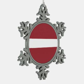 ラトビアの旗 スノーフレークピューターオーナメント