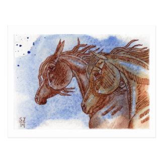 ラピスラズリの水彩画の金ゴールド及びクリの馬 ポストカード
