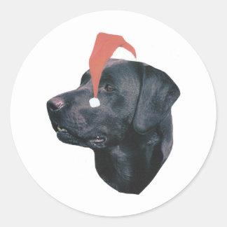 ラブラドル・レトリーバー犬のサンタの帽子 ラウンドシール