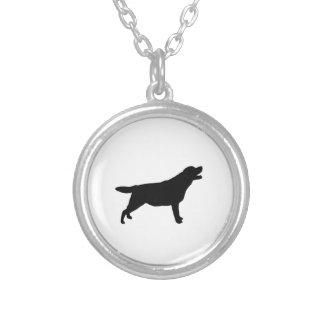ラブラドル・レトリーバー犬のシルエット愛犬 シルバープレートネックレス
