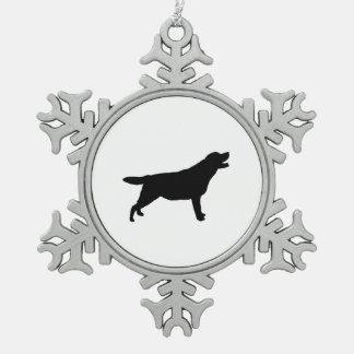 ラブラドル・レトリーバー犬のシルエット愛犬 スノーフレークピューターオーナメント