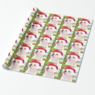 ラブラドル・レトリーバー犬の子犬のクリスマスの包装紙 ラッピングペーパー
