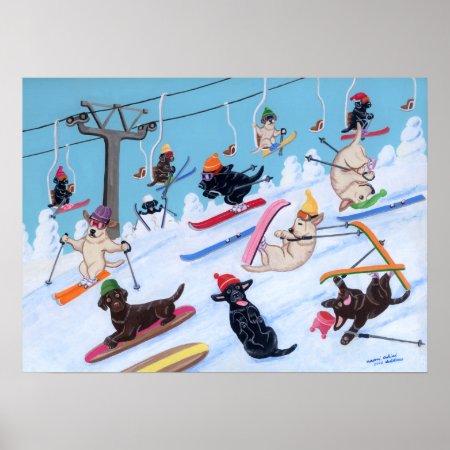 ラブラドル・レトリーバー犬の芸術のプリントのスキー