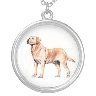 ラブラドル・レトリーバー犬の野良犬のネックレス シルバープレートネックレス