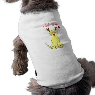 ラブラドル・レトリーバー犬の黄色親愛なサンタ ペット服