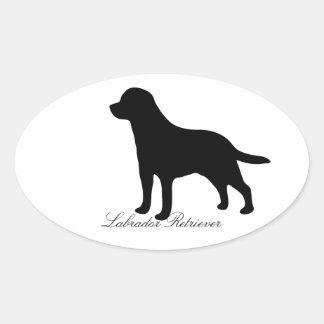 ラブラドル・レトリーバー犬犬の黒のシルエットのステッカー 楕円形シール
