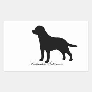 ラブラドル・レトリーバー犬犬の黒のシルエットのステッカー 長方形シール