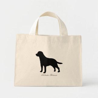 ラブラドル・レトリーバー犬犬の黒のシルエットのトートバック ミニトートバッグ