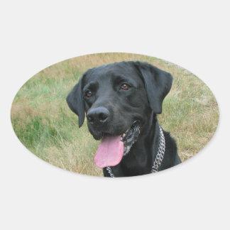 ラブラドル・レトリーバー犬犬の黒のステッカー、ギフトのアイディア 楕円形シール