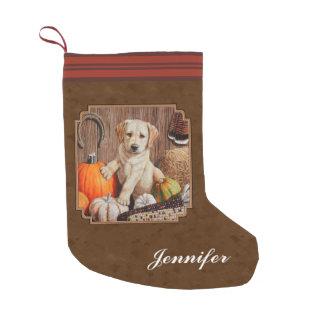 ラブラドル・レトリーバー犬犬及びカボチャブラウン スモールクリスマスストッキング