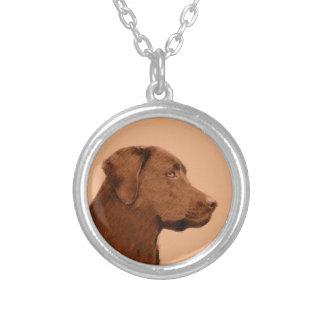 ラブラドル・レトリーバー犬(チョコレート) シルバープレートネックレス