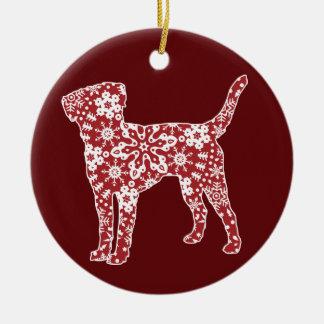 ラブラドル・レトリーバー犬、Bohoのクリスマスの雪片 セラミックオーナメント