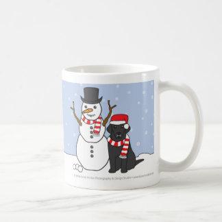 ラブラドールおよび雪だるまのマグ コーヒーマグカップ