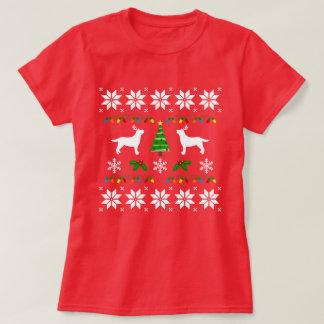 ラブラドールのシルエットの輪郭の醜いクリスマスのティー Tシャツ