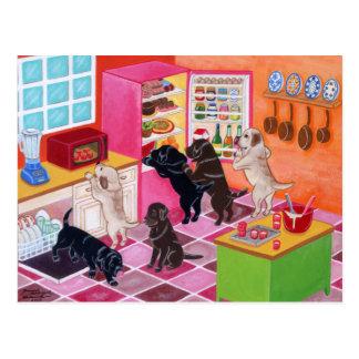 ラブラドールの台所パーティーの絵画 ポストカード