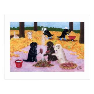 ラブラドールの秋のおもしろい ポストカード