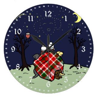 ラブラドール家族および星明かりの空 ラージ壁時計