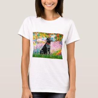 ラブラドール(黒) -庭 Tシャツ