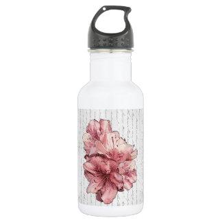 ラブレターのピンクの図解入りの、写真付きのな花は名前をカスタマイズ ウォーターボトル