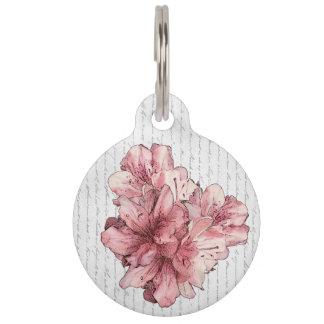 ラブレターのピンクの図解入りの、写真付きのな花は名前をカスタマイズ ペット ネームタグ
