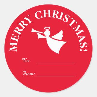 ラベルのステッカーに出入するカスタムなクリスマスの天使 ラウンドシール