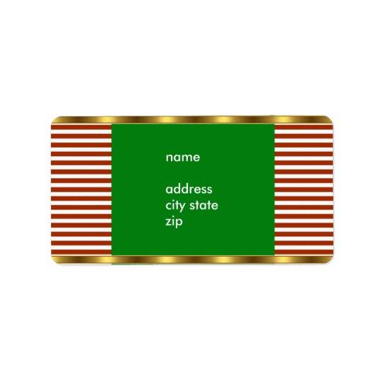 ラベルの住所赤く白いストライプの金ゴールドのトリム 宛名ラベル