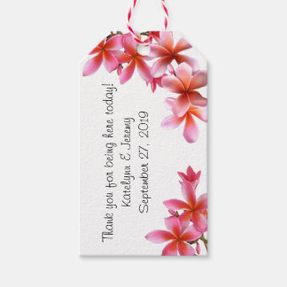 ラベルを結婚するピンクの花の熱帯プルメリア ギフトタグ
