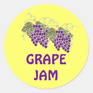 ラベルを缶詰にする紫色のブドウが付いている黄色いステッカー ラウンドシール