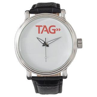 ラベルプロセスサービス黒のヴィンテージの革 腕時計