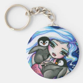 """""""ラベルAlongs""""の人魚のベビーのペンギンのファンタジーの妖精 キーホルダー"""