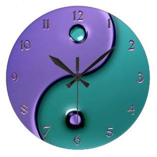 ラベンダーおよび水の陰陽の時計 ラージ壁時計