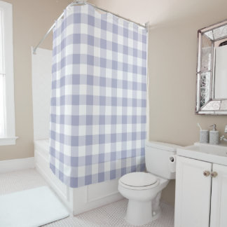 ラベンダーおよび白いギンガムによって点検されるパターン シャワーカーテン