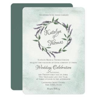 ラベンダーおよび賢人の結婚式のリース カード