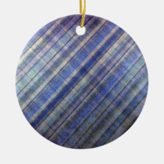 ラベンダーおよび青いダマスク織は縞で飾ります セラミックオーナメント