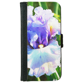 ラベンダーおよび青い水彩画のアイリス iPhone 6/6S ウォレットケース
