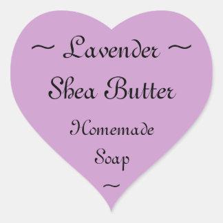 ラベンダーのシアバターの石鹸のラベル ハートシール