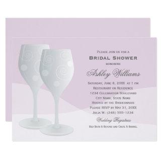 ラベンダーのブライダルシャワー|の応援のワイングラス カード