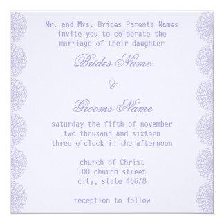ラベンダーのボーダーレースの結婚式招待状 カード